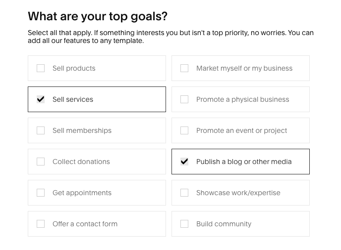"""Squarespace's """"What are your top goals?"""" form. The form is a checklist many business-related goals, including """"Sell services"""" or """"Publish a blog"""""""