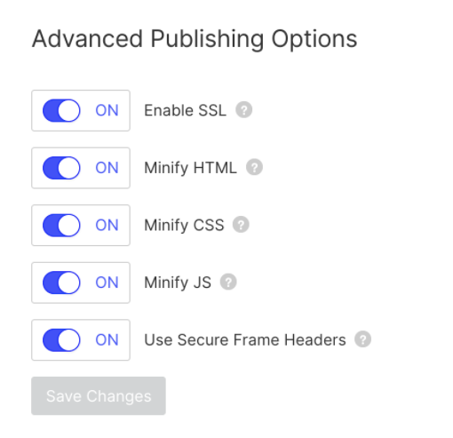 Screenshot of Webflow menu with toggle switches to enable SSL, minify assets, and use secure frame headers