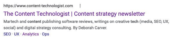 """Search snippet example. Title tag: """"The Content Technologist 