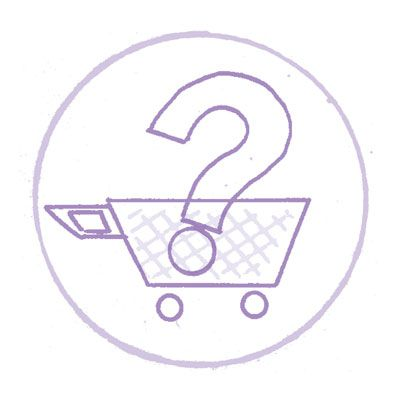 A shopping cart holds a question mark