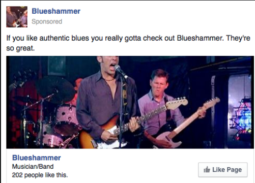 """A sponsored Facebook post from the band Blueshammer with the caption, """"If you like authentic blues you really gotta check out Blueshammer. They're so great."""""""